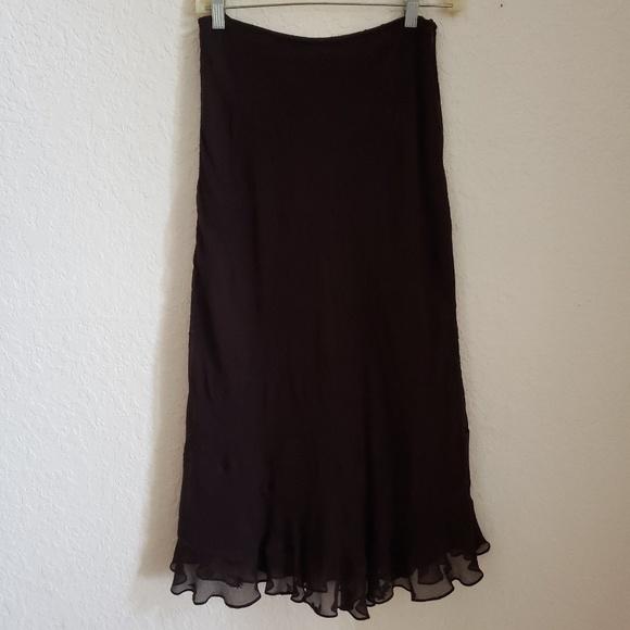 INC International Concepts Dresses & Skirts - Long brown ruffled bottom skirt